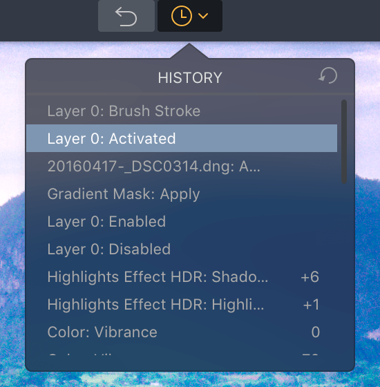 History Panel in New Version of Aurora HDR