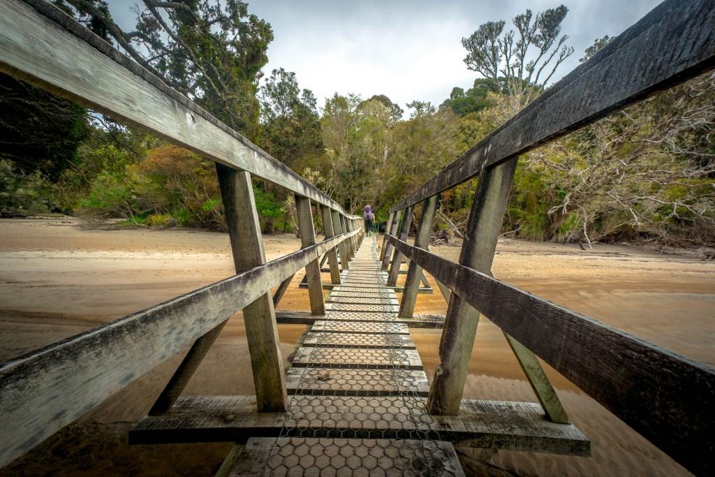 Bridge crossing along Rakiura Great Walk New Zealand
