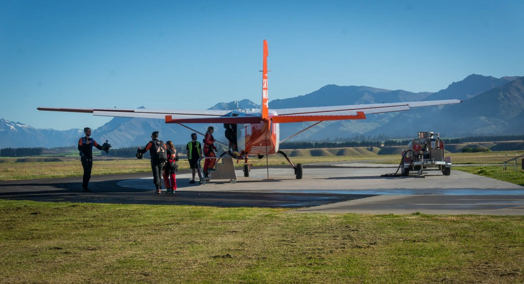 Plane ready to take off at Sky Dive Wanaka