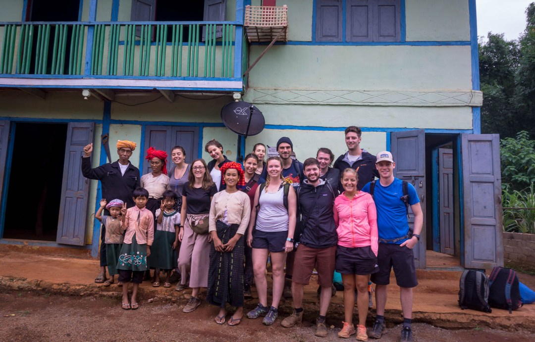 Group photo of hiking group in Myanmar