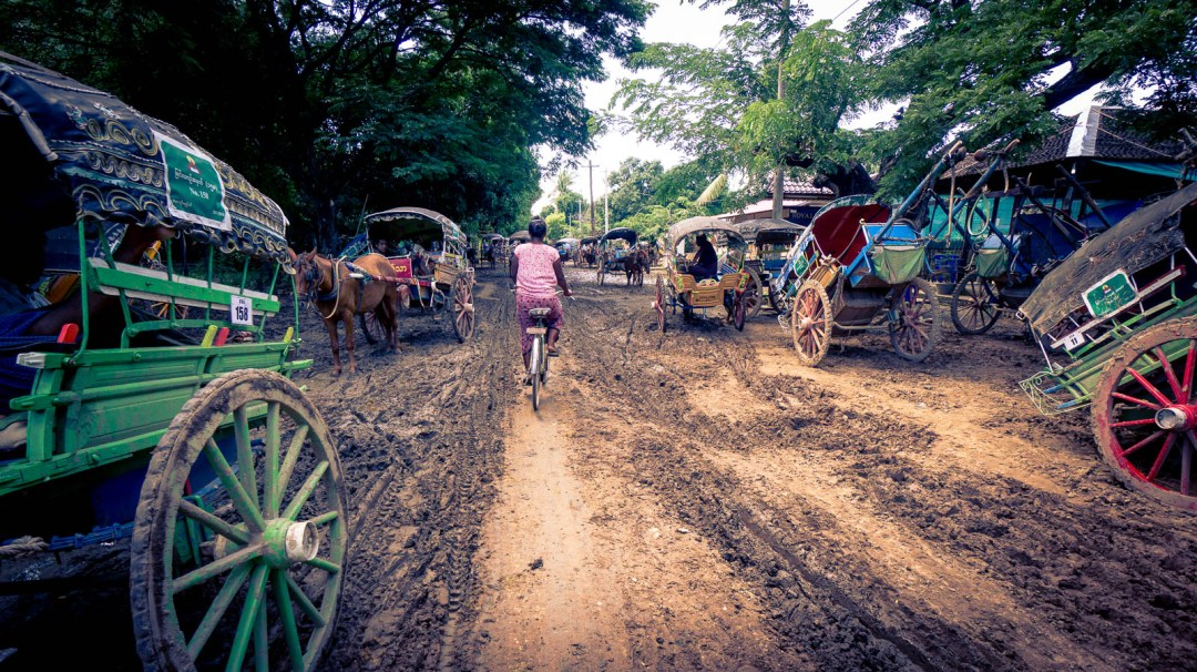 Horse tracks and carriages on muddy roads in Innwa
