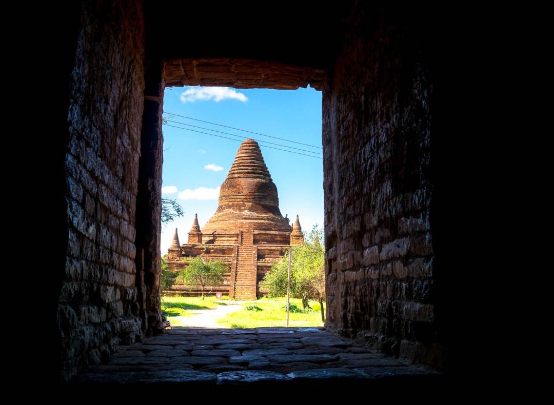 Pagoda through window
