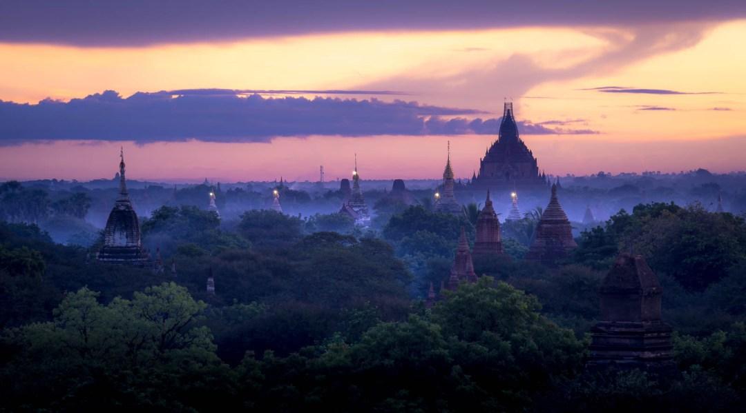 Sunrise view over Bagan from Shwe Gu Gyi Phaya