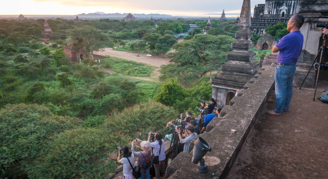 Tourists at sunrise in Bagan