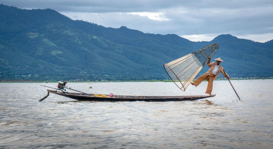 Traditional fishing method in Inle Lake