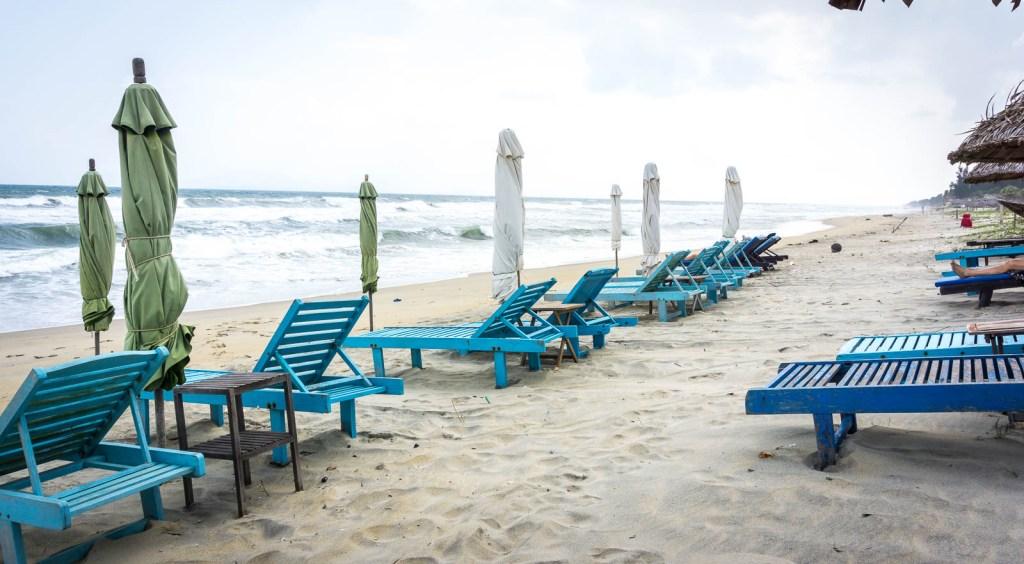Blue beach chairs on Hidden Beach