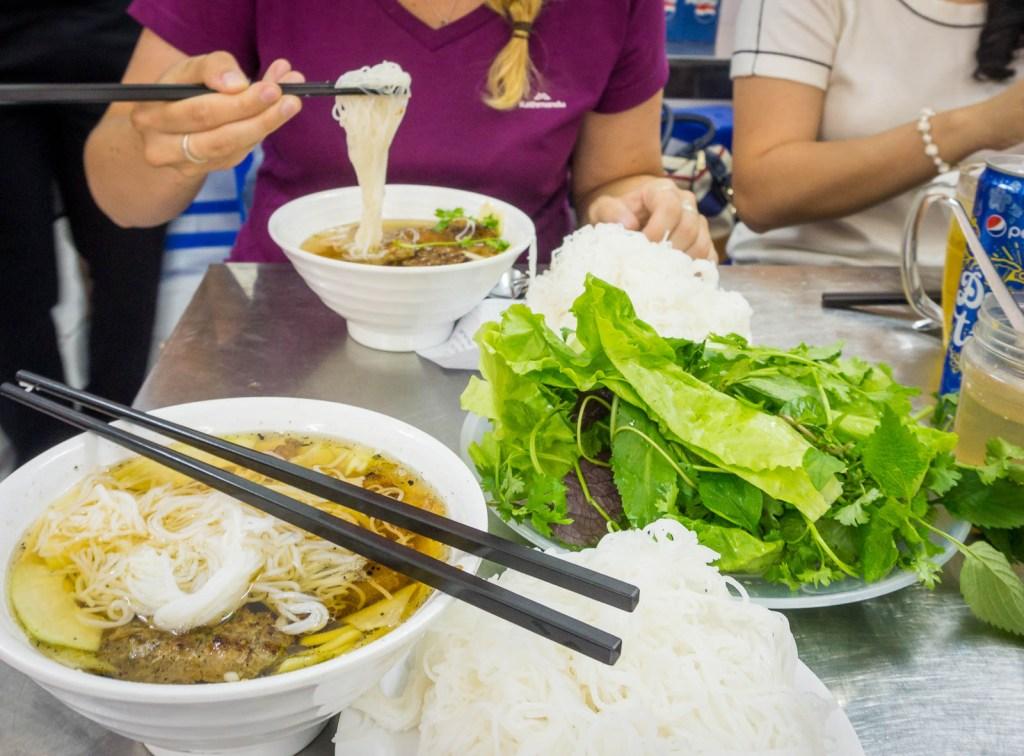 Eating Bun Cha at Obama restaurant in Hanoi