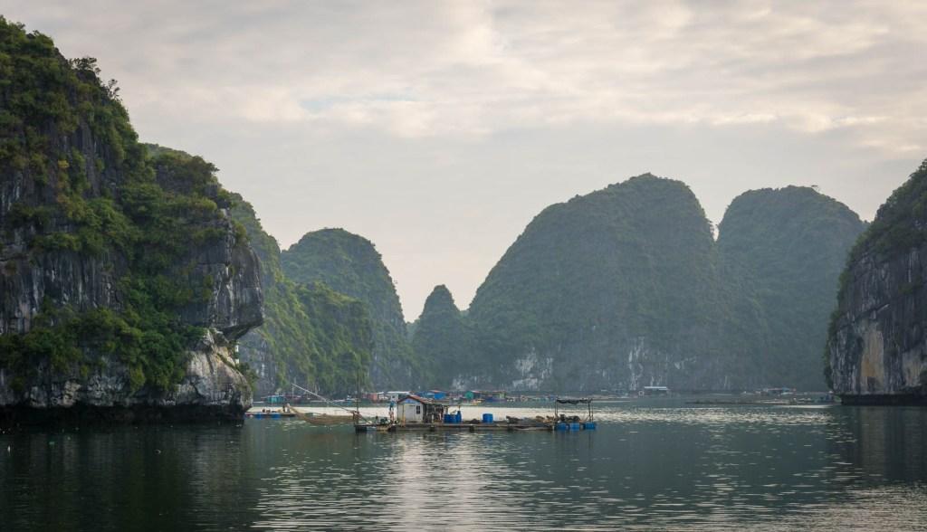 Floating village on Cat Ba Island