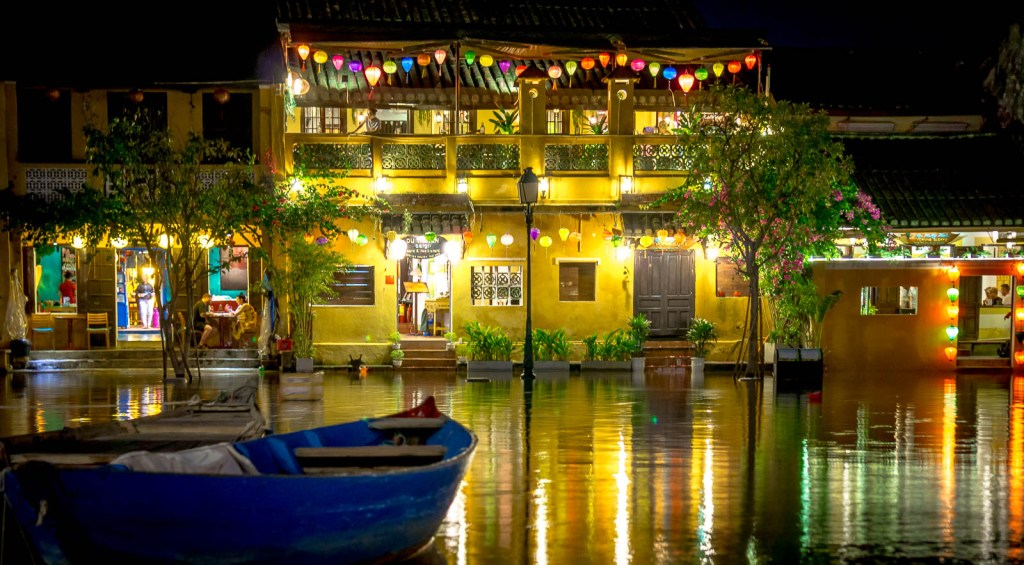 Flooded streets at night in Hoi An