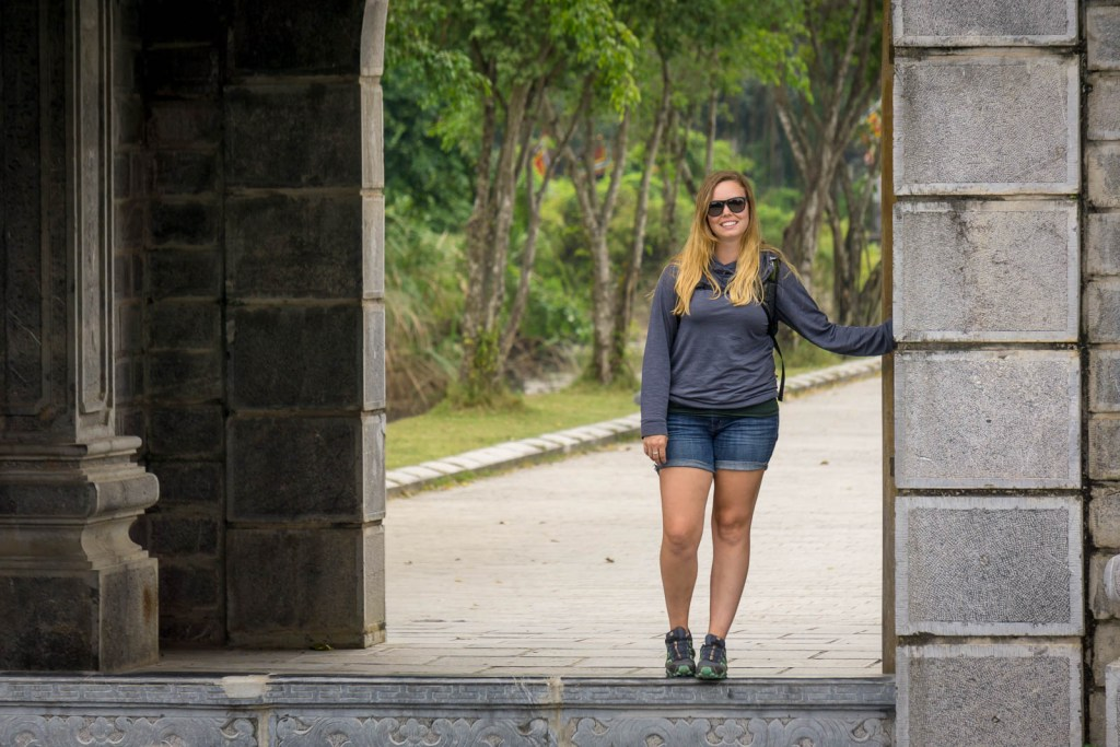 Hilary standing in gate to ancient city