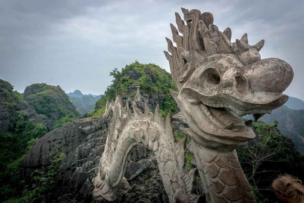 Stone Dragon on top of ridge in Ninh Binh