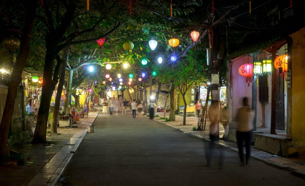 Street at night with lanterns