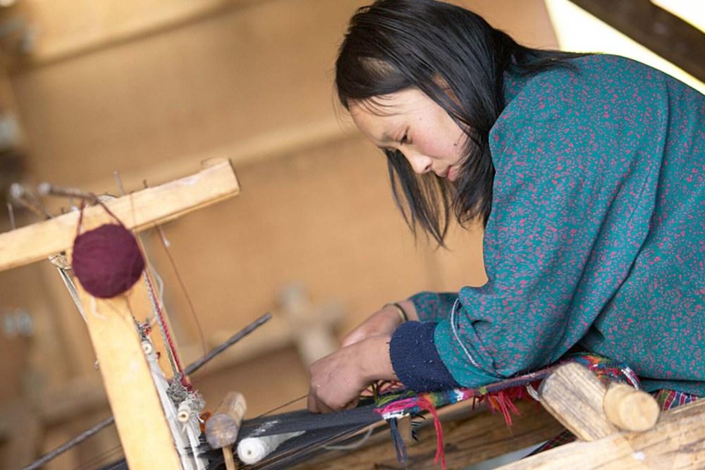 A Bhutanese women weaving