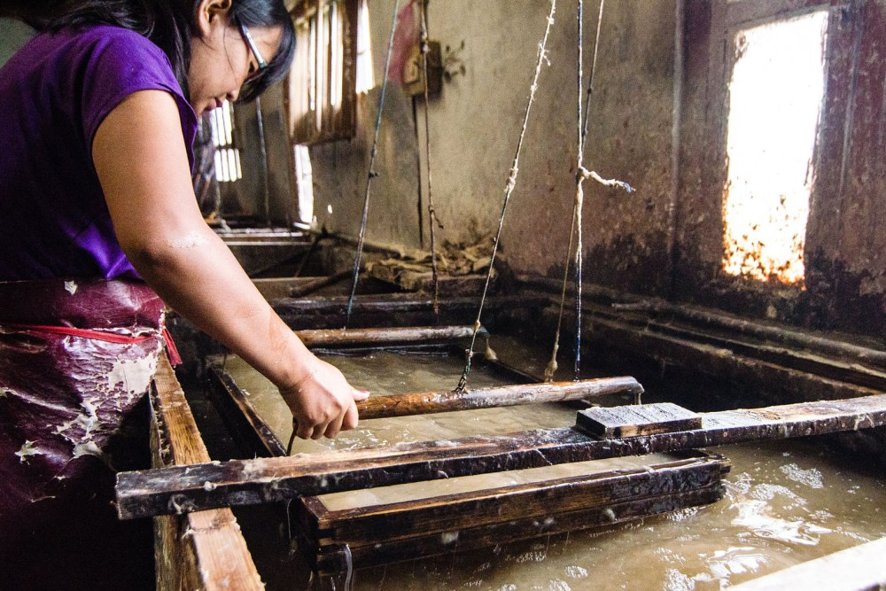Bhutanese Paper Factory work on process