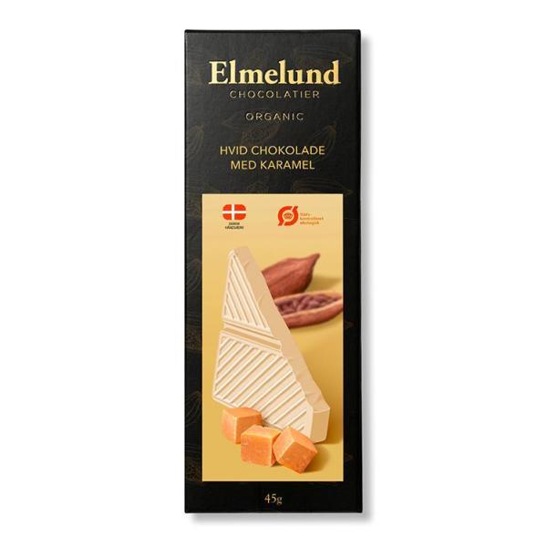 Chokoladeplade, hvid chokolade med karamel (økologisk)