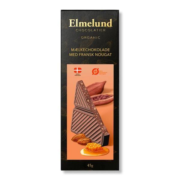 Chokoladeplade, mælkechokolade med fransk nougat (økologisk)