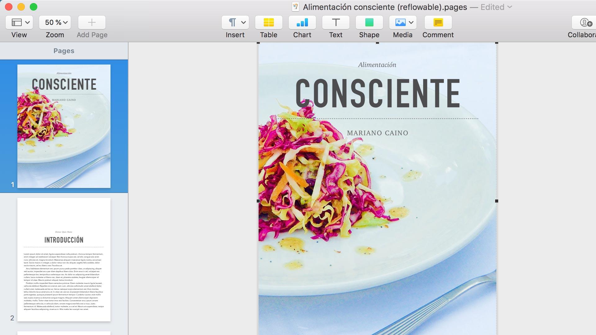 Captura de la aplicación Apple Pages para ePUB dinámico