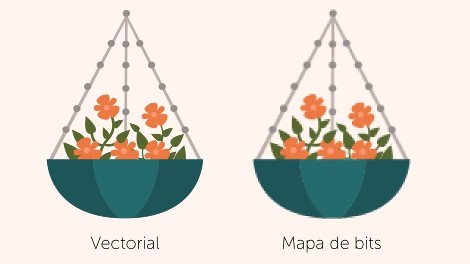 Gráfico de macetas con flores: vectorial y mapa de bits.