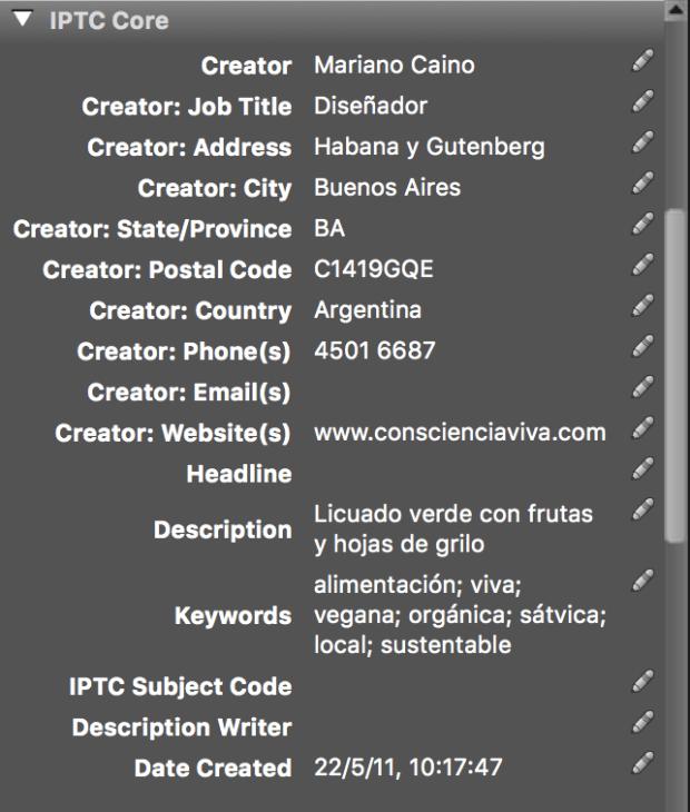 Metadatos: IPTC Core