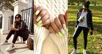 Parineeti Chopra's in a black leather jacket and neon nail art