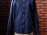 FK-B.D WINDOWPANE L/S (NAVY)
