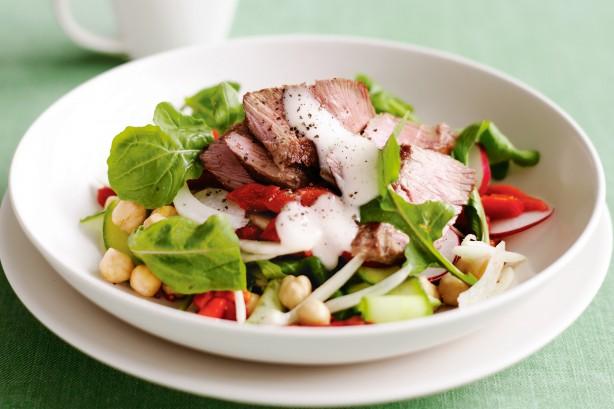lamb chickpea rocket salad