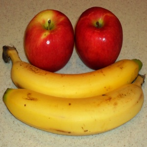 Banana, apples