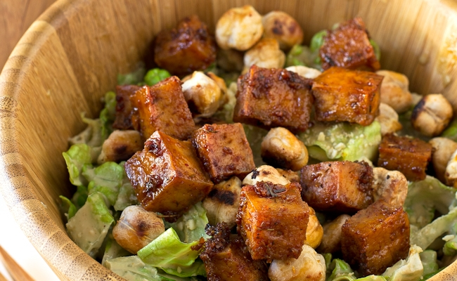 croutons with roasted chickpeas