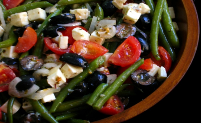 Green Beans With Richness Of Olives, Feta And Tomatoes