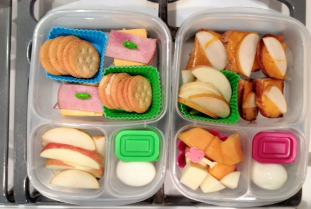 Take Crackers, Apple And Boiled Egg