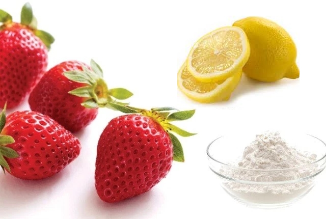 Baking Soda, Lemon Juice, And Strawberries