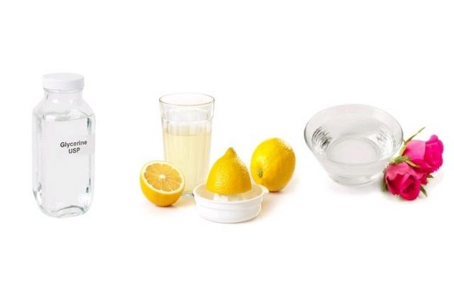 Rosewater, Lemon Juice, And Glycerin