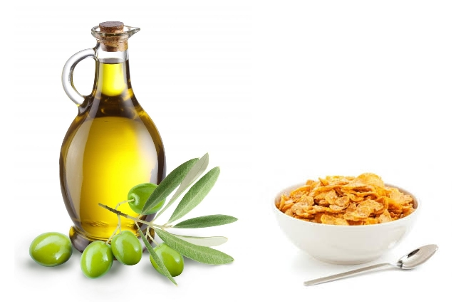 Water With Olive Oil And Cornflakes Powder