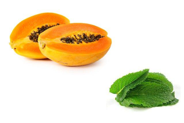 Use Of Fresh Mint Leaves And Papaya