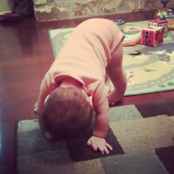 The kid's downward dog circa 2012.