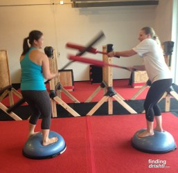 Me and Teresa jousting on Bosu balls