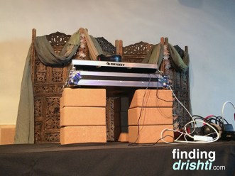 Yoga blocks to prop up the DJ equipment