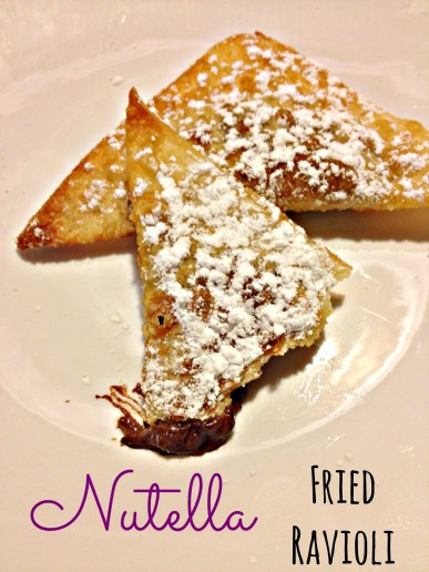 Nutella fried ravioli! Tastes like fried dough filled with melty chocolate