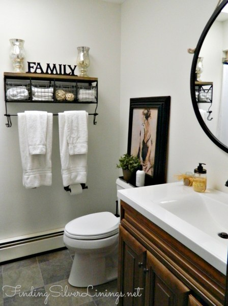 Remodeled bath with shelving