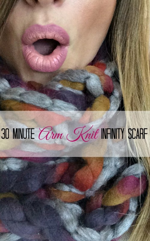 30 minute arm knit infinity scarf.  Perfect hand made gift for the holidays