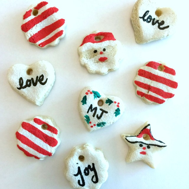 Paint salt dough ornaments using a Sharpie paint pen. Genius! No mess at all!
