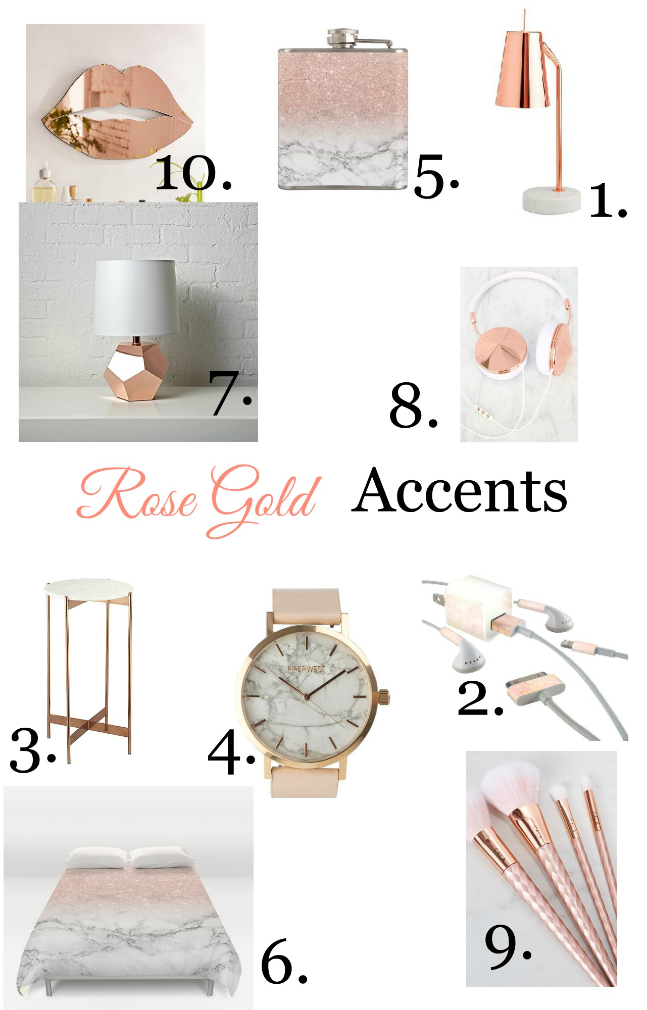 Rose gold decor accents finding silver linings for Room decor rose gold