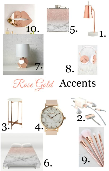 rose gold decor accents