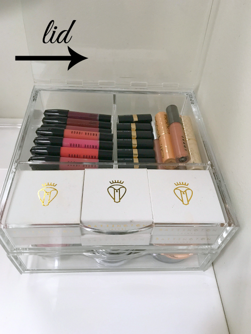 clear makeup storage with drawers and lid