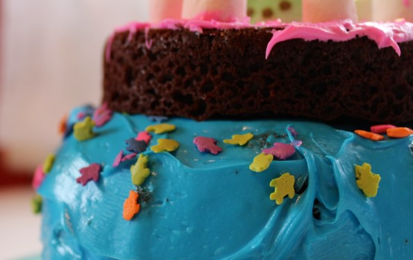 Chocolate Cake with Peeps