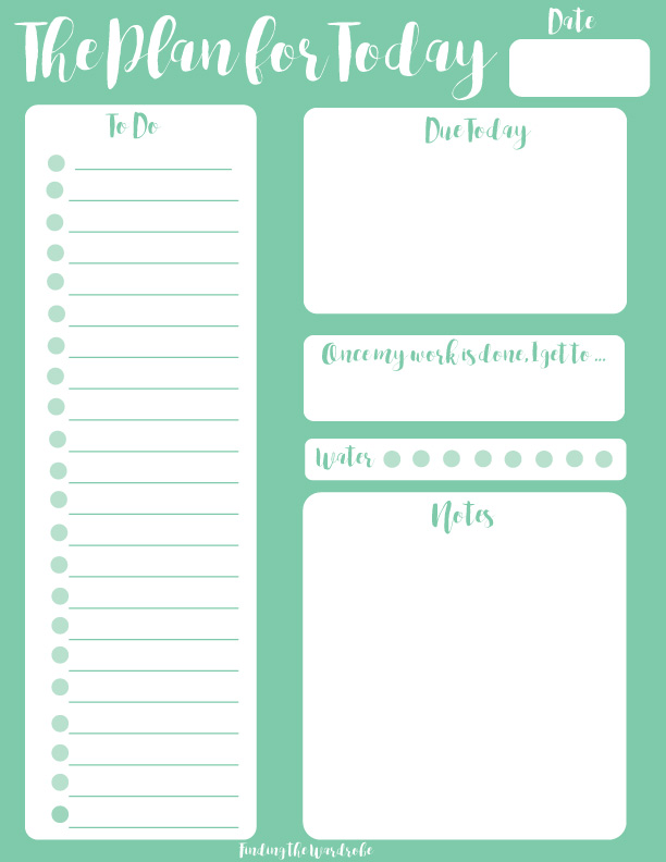 photograph about Page a Day Planners referred to as Free of charge Printable - Mint Working day Planner - Getting the Wardrobe