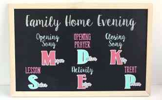 Family Home Evening Magnet Chalkboard created with the Silhouette Cameo, vinyl as a stencil, and adhesive magnet paper.
