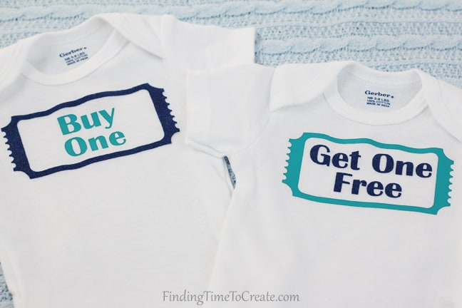 Buy One Get One Twin Onesies - Heat Transfer Detail - Finding Time To Create