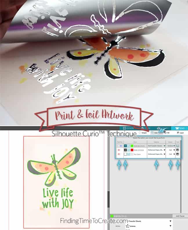Print & Foil Silhouette Curio technique with tutorial