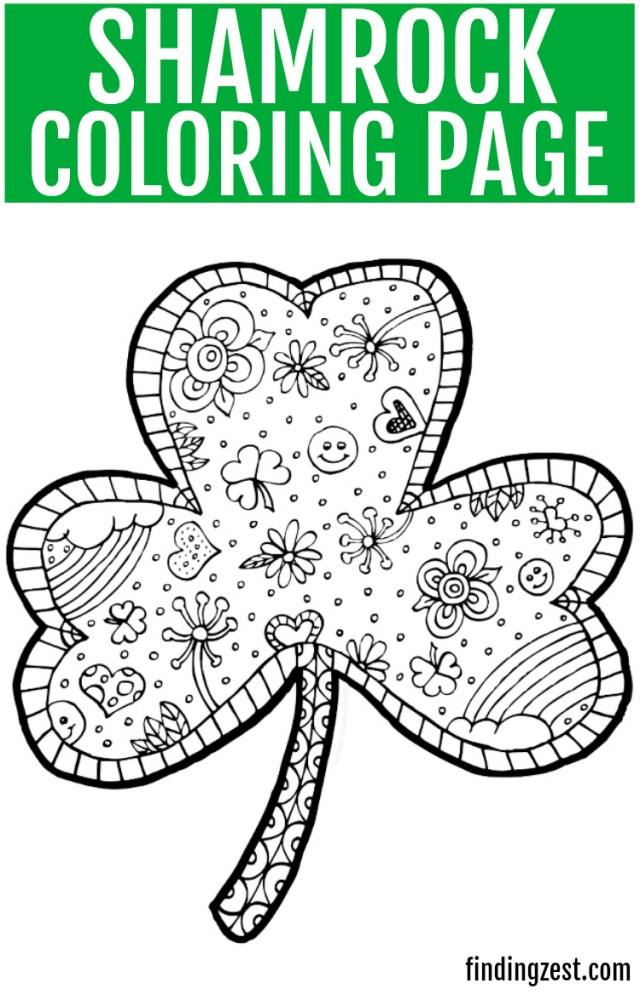 Shamrock Coloring Page Printable - Finding Zest